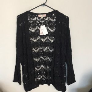 Pretty black crochet cardigan by Pink Republic NWT
